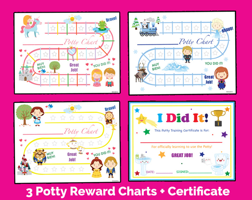 Printable Girls 3 Pack Pink Princess Bilingual SPanish Potty Training Reward Charts and Certificate Download