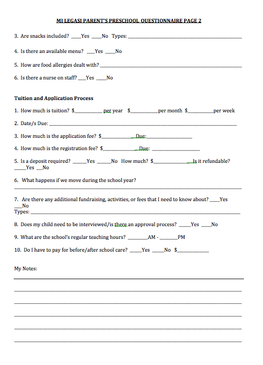 Free Download - Mi Legasi Parent's Preschool Questionnaire Download - Mi LegaSi