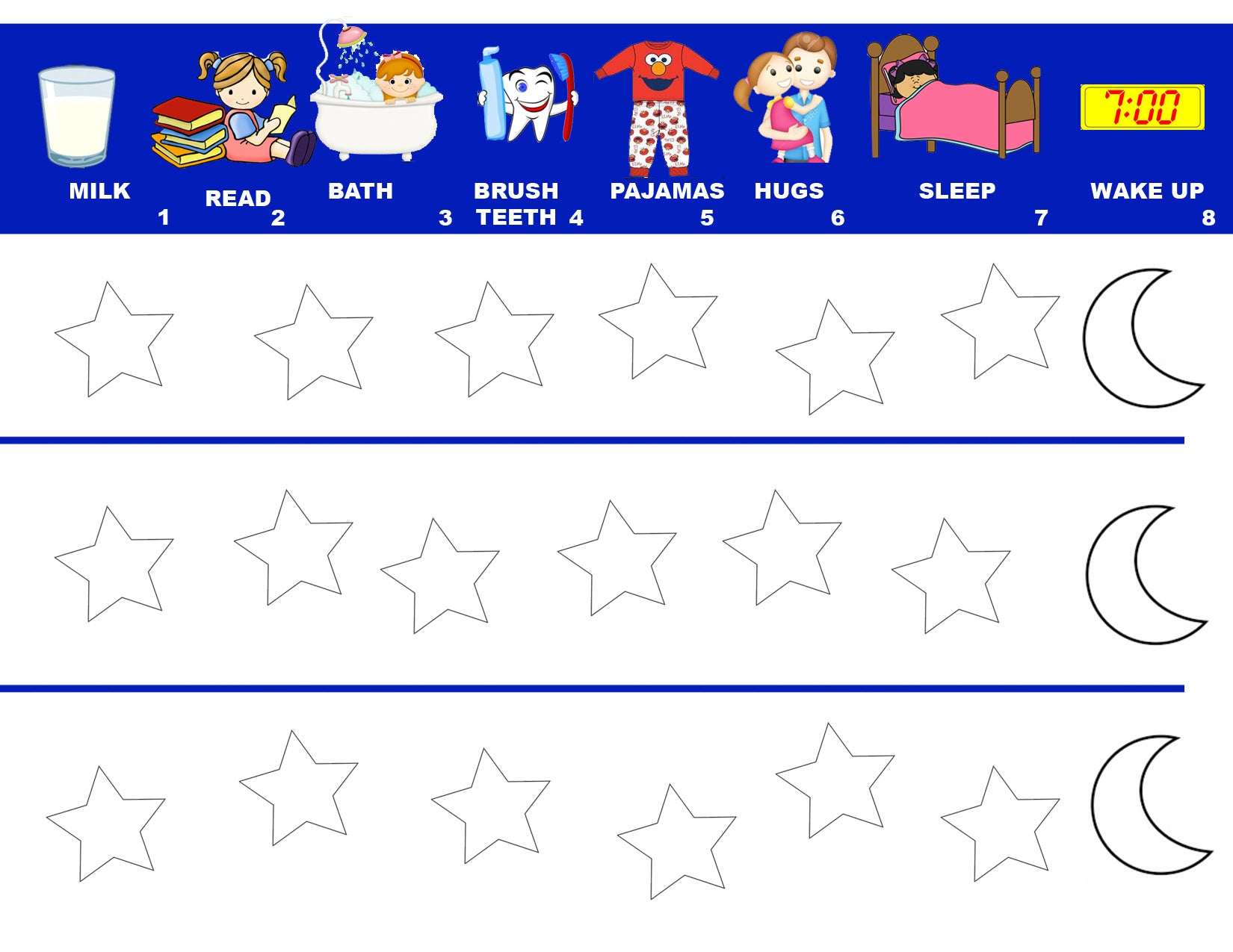 photo relating to Bedtime Routine Chart Printable called Free of charge Bedtime Program Chart - Mi LegaSi