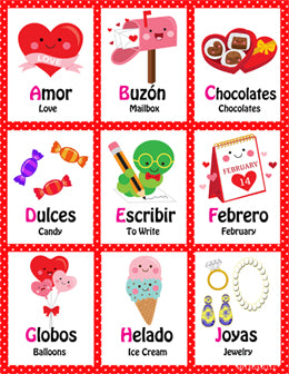 Mi LegaSi Valentine's Day February Febrero Bilingual ABC Flashcards Printable Download - Mi LegaSi
