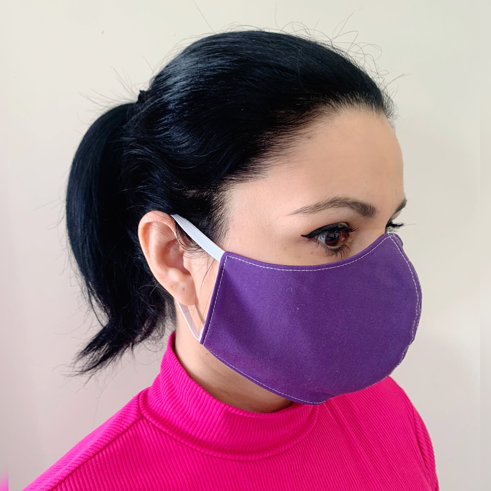 Women's/Teen Solid Color Face Mask 100% Cotton with Lining Rewash and Reuse - Mi LegaSi