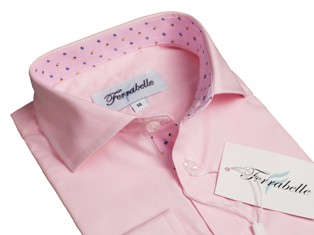Ferrabelle Boys Long Sleeve Fashion Button Down Dress Shirt Pink