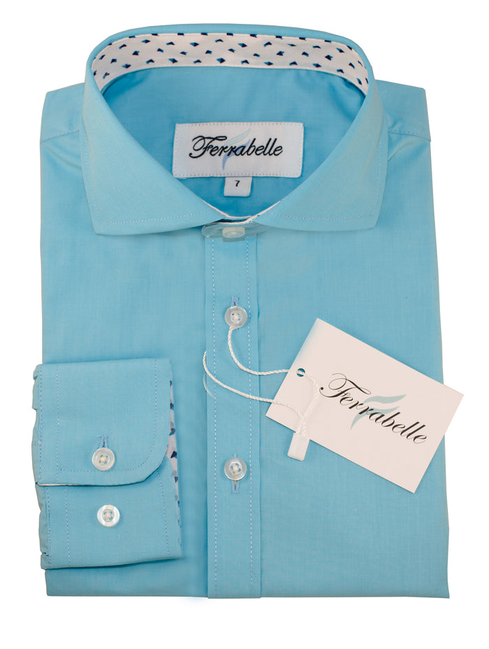 Ferrabelle Boys Long Sleeve Fashion Button Down Dress Shirt Sea Blue