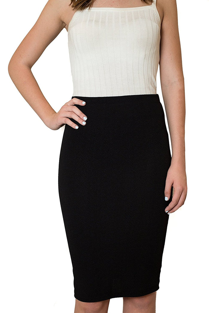 Womens MIdi Pencil Skirts Below The Knee Length Solid Black