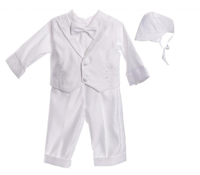 Infant Baby Boys Christening Baptism Outfit Cross Collar Vestie Pants Set