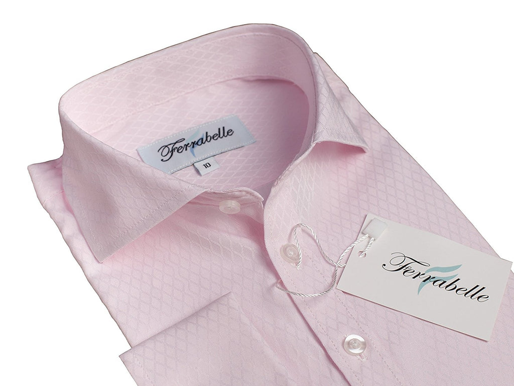 Pink Boys Formal Wear Dress Shirt - Solid Long Sleeve With French Cuffs Pink