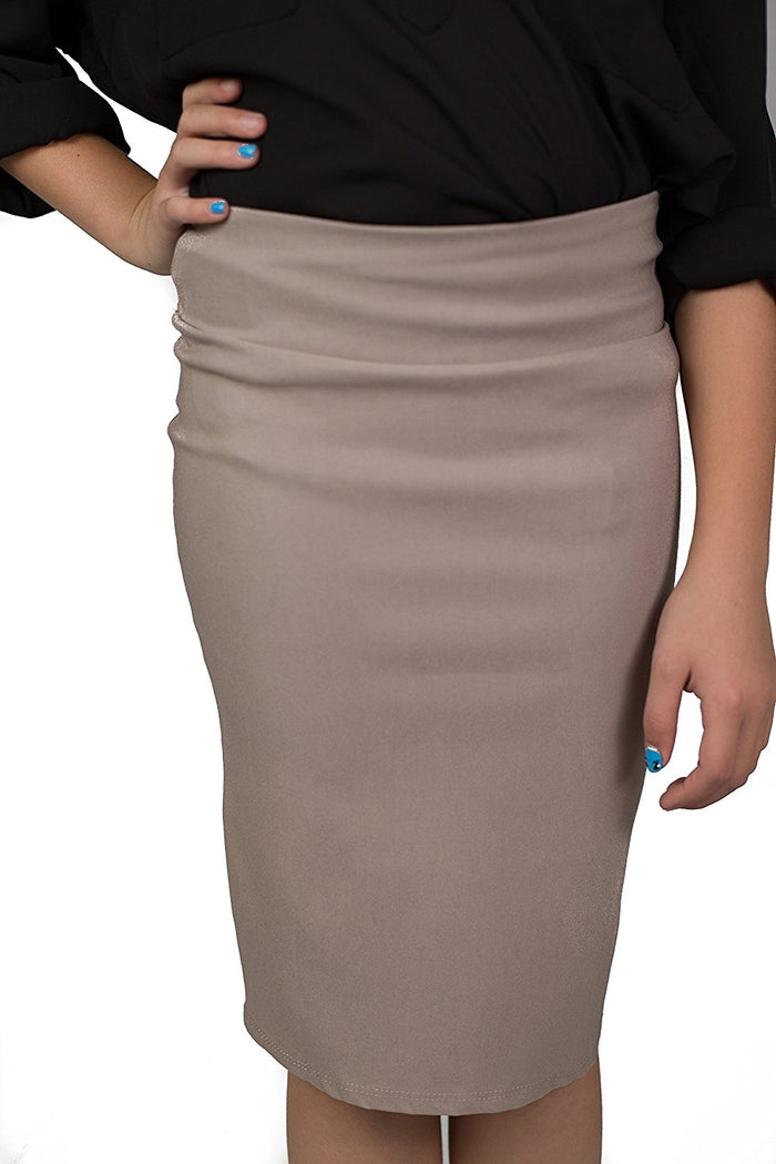 Beige Sand Caldore Girls 7-16 Pencil Skirt