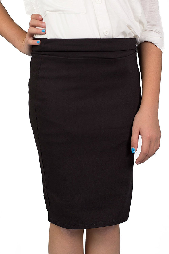 Black Caldore Girls 7-16 Pencil Skirt