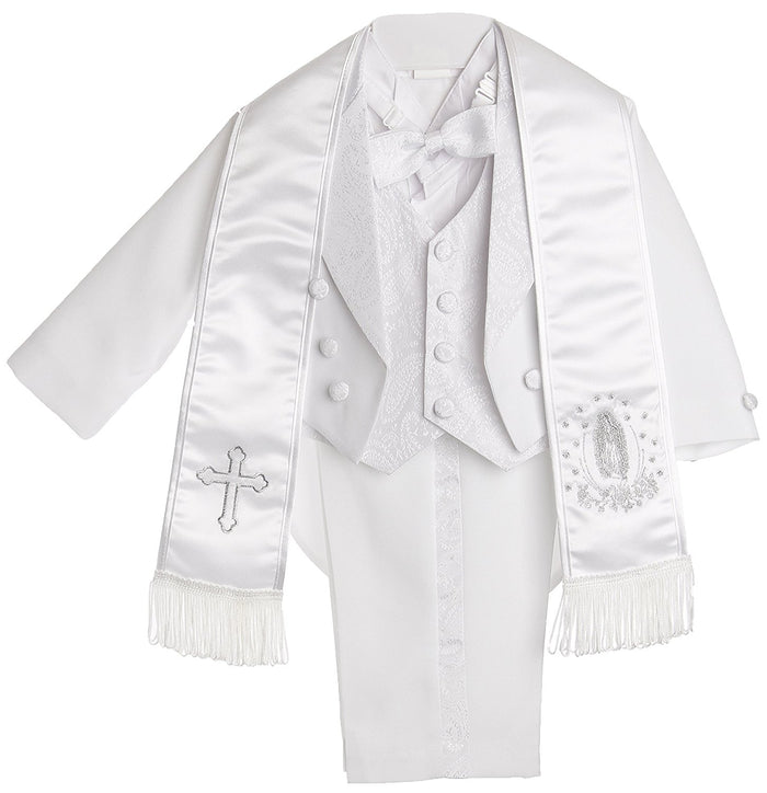 Silver Embroidery Boy White Tail Paisley Design Christening Outfit, Virgin Embroidered Tuxedo Baptismal Suit By Caldore USA