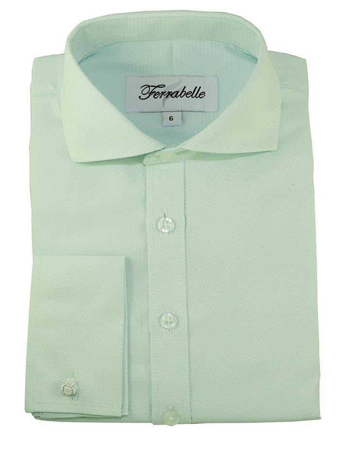 Mint Boys Formal Wear Dress Shirt - Solid Long Sleeve With French Cuffs Mint Green