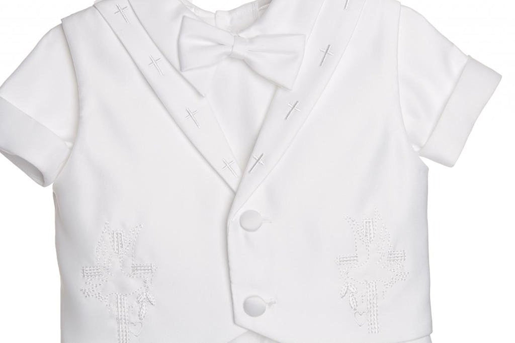 Baby Boys Christening Outfit with Embroidered Cross Collar Vest All White Baptismal Short Set By Caldore USA