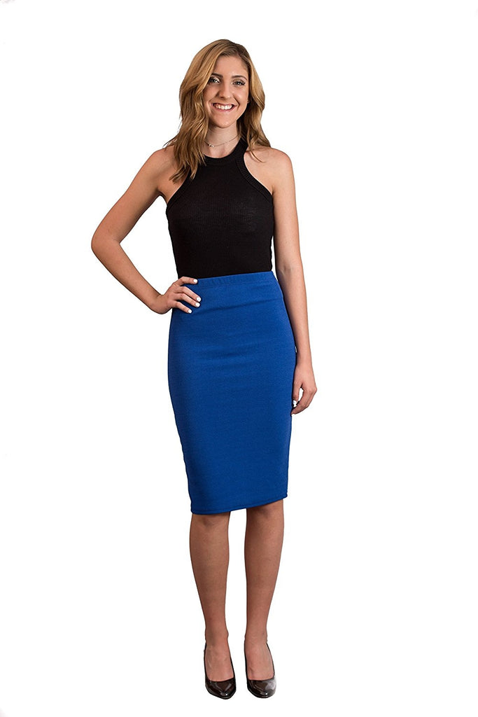 Womens MIdi Pencil Skirts Below The Knee Length Solid Color Royal