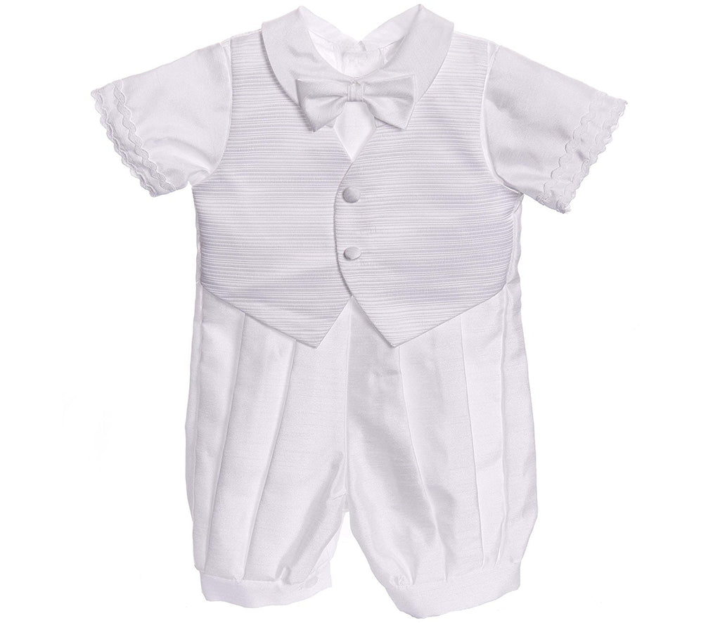 Infant Baby Boy White Classic Christening Baptism Outfit- 5pc set