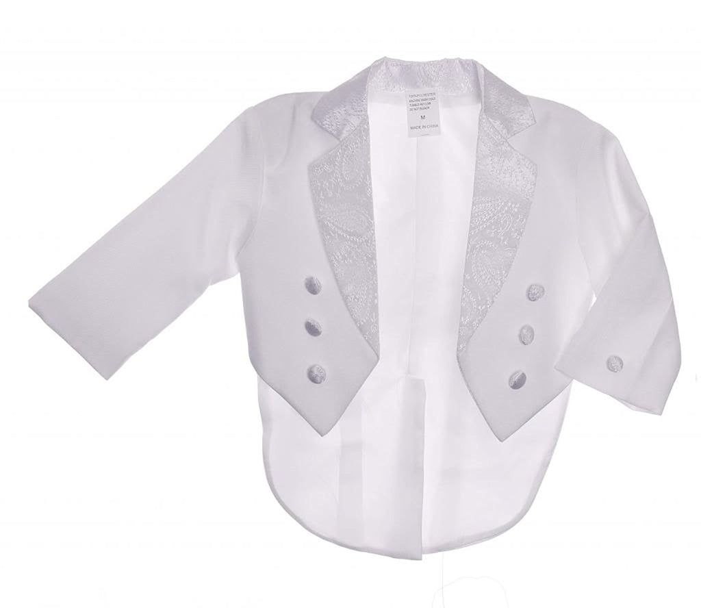 White Embroidery Boy White Tail Paisley Design Christening Outfit, Virgin Embroidered Tuxedo Baptismal Suit By Caldore USA