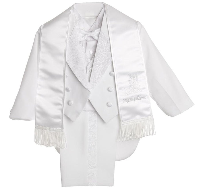 Silver Embroidery Baby Boys All White Christening Outfit, Tail Paisley Tuxedo Suit Design, Angel Baptism Embroidered Jacket By Caldore USA