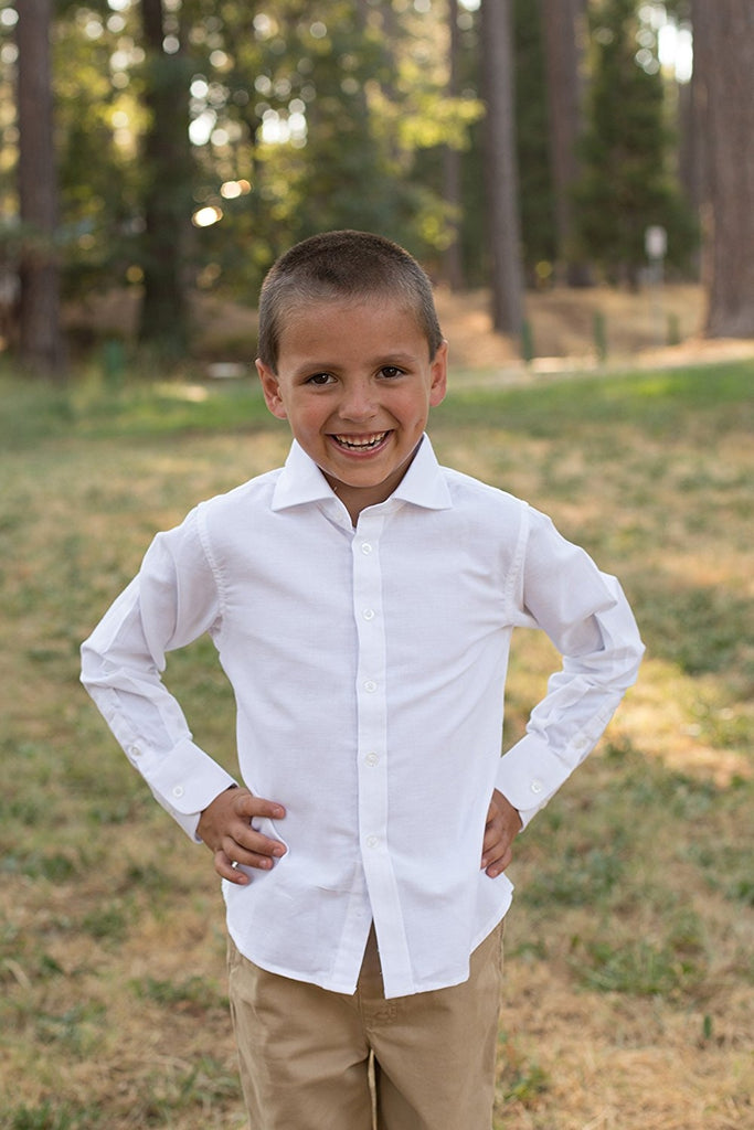 White Boys Formal Wear Dress Shirt - Solid Long Sleeve With French Cuffs White