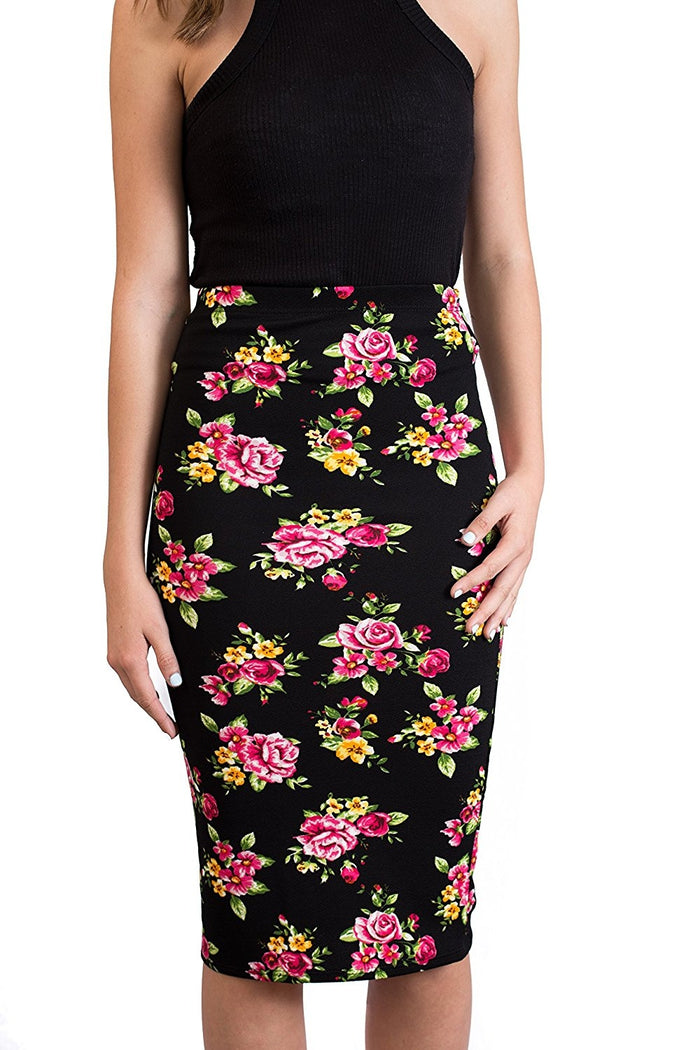 Womens MIdi Pencil Skirts Below The Knee Length Fuchsia Flower Prints