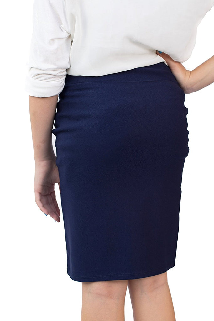 Navy Caldore Girls 7-16 Pencil Skirt