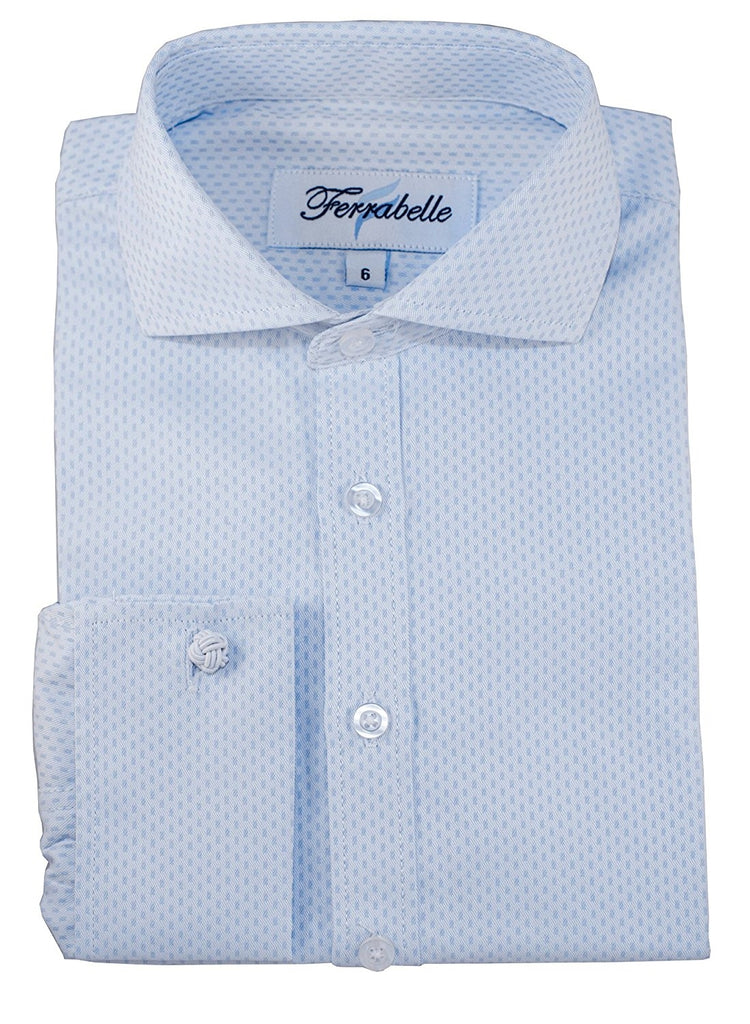 Blue Boys Formal Wear Dress Shirt - Solid Long Sleeve With French Cuffs Blue
