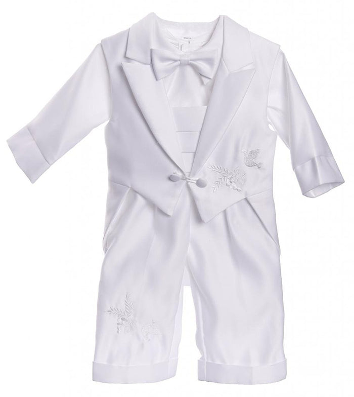 Caldore Boys Christening Tail Vest Dove Design Pants Set Size 18M ( L )