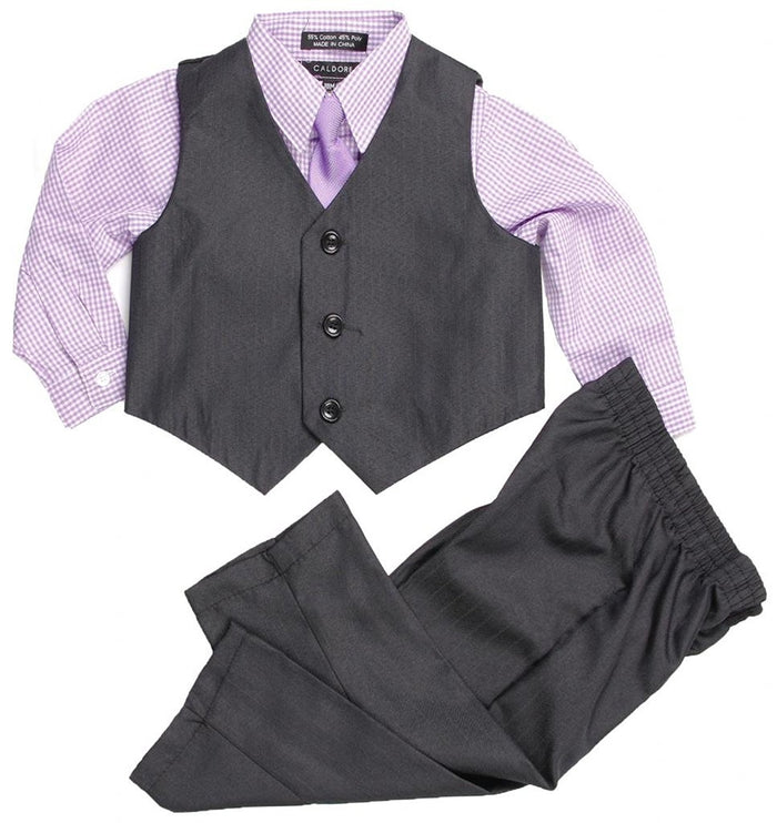 Lilac Boys Formal Suit Set - Vest Shirt Pants and Matching Tie Dress Wear Outfit By Caldore
