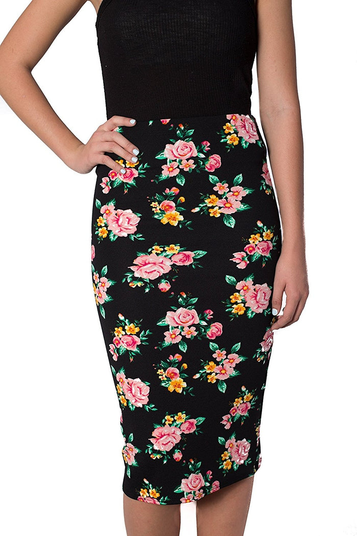 Womens MIdi Pencil Skirts Below The Knee Length  Pink Rose Print