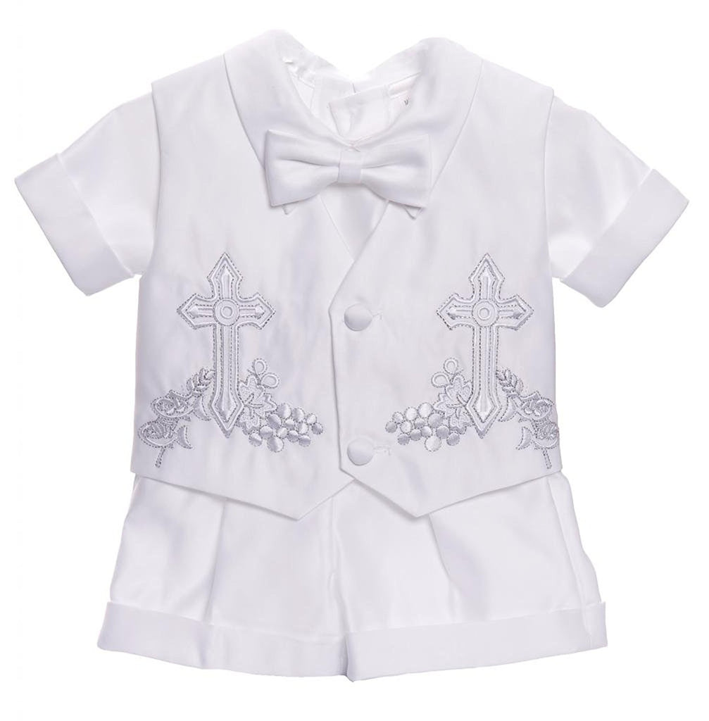 CALDORE USA Baby-boys Christening Cross Embroidered Shorts Set