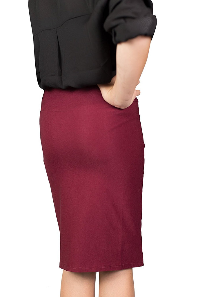 Burgundy Caldore Girls 7-16 Pencil Skirt