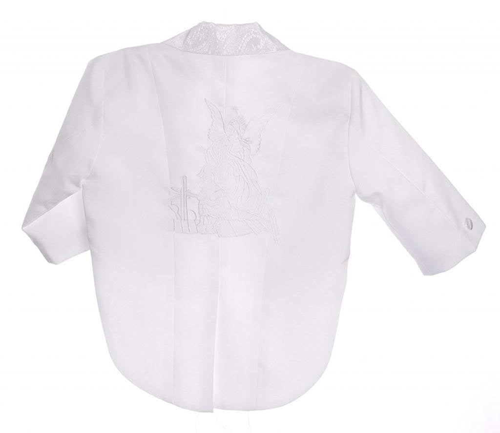 White Embroidery Baby Boys All White Christening Outfit, Tail Paisley Tuxedo Suit Design, Angel Baptism Embroidered Jacket By Caldore USA