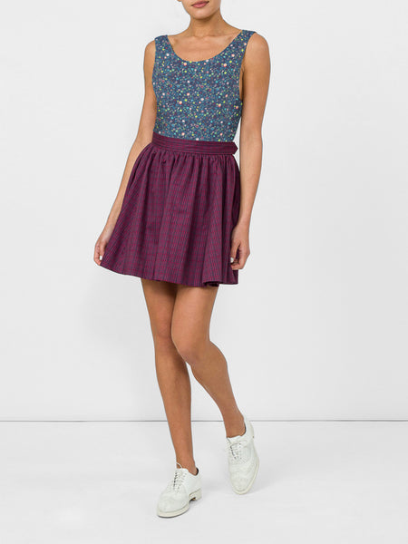 THE RALEIGH SKIRT - WAVY STRIPE BURGUNDY
