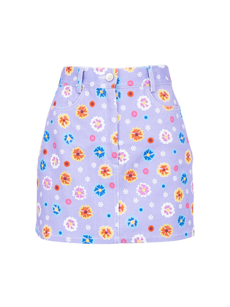 THE CLAUDE SKIRT - CAREYES FLORAL PRINT MAUVE