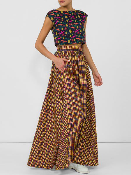 THE DELANO SKIRT - WAVY STRIPE MUSTARD