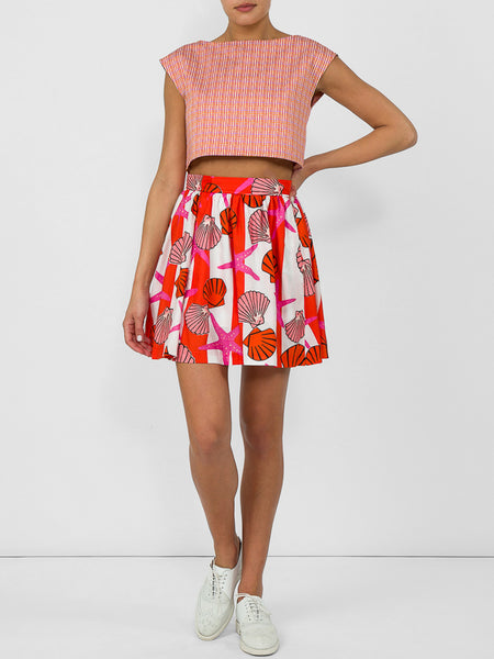 THE RALEIGH SKIRT - SEASHELL PRINT PINK