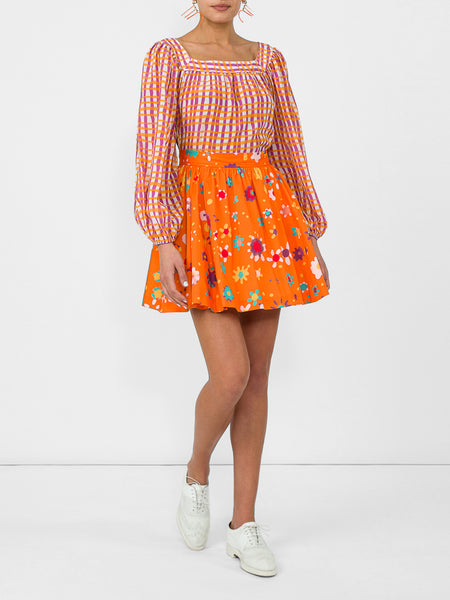 THE RALEIGH SKIRT - BLURRY DITZY FLORAL ORANGE