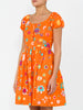 THE COCONUT GROVE DRESS - BLURRY DITZY FLORAL ORANGE