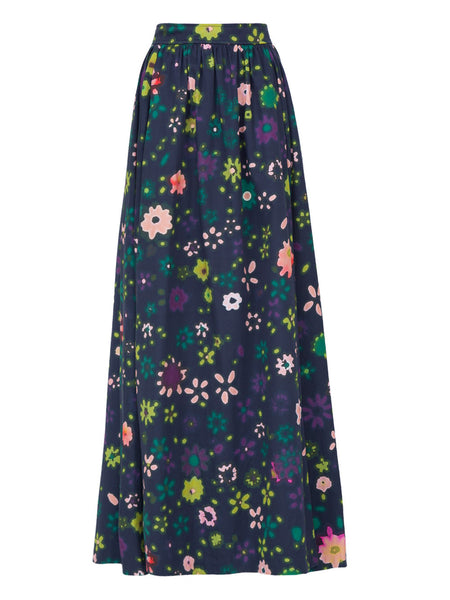 THE DELANO SKIRT - BLURRY DITZY FLORAL NAVY