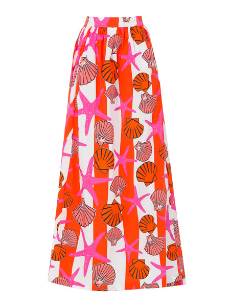 THE DELANO SKIRT - SEASHELL PRINT PINK LARGE