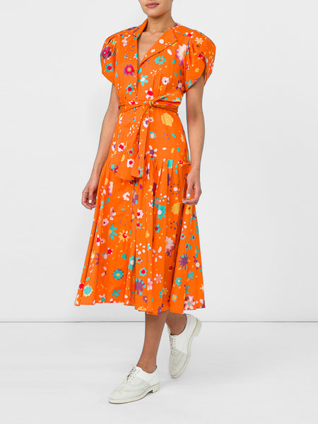 THE GLADES DRESS - BLURRY DITZY FLORAL ORANGE