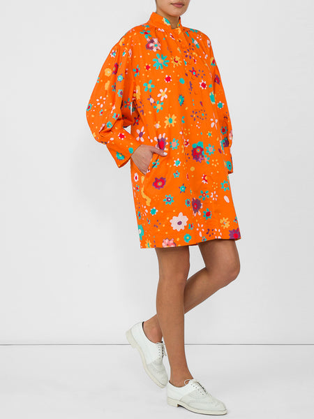 THE HARBOUR ISLAND DRESS - BLURRY DITZY FLORAL ORANGE