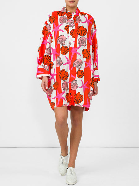 THE HARBOUR ISLAND DRESS - SEASHELL PRINT PINK