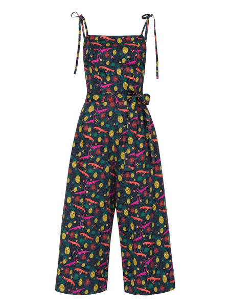 THE HIBISCUS JUMPSUIT - QUIRKY PRINT NAVY