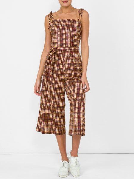 THE HIBISCUS JUMPSUIT - WAVY STRIPE MUSTARD