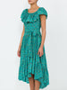 THE JUNGLE ISLAND DRESS - BLURRY DITZY FLORAL TEAL