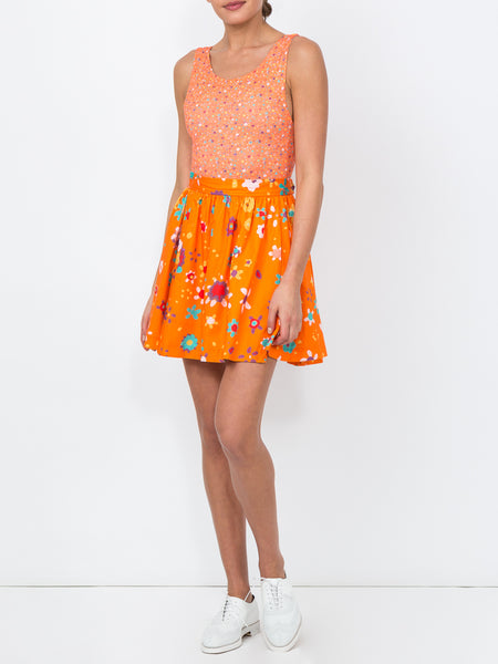 THE KEY BISCAYNE BODYSUIT - BLURRY DITZY FLORAL ORANGE