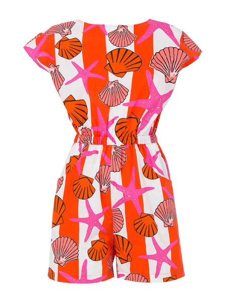 THE SURF CLUB ROMPER - SEASHELL PRINT PINK