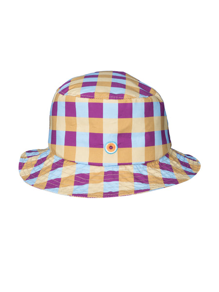 THE STONE CRAB HAT - GINGHAM BLUE PLUM YELLOW