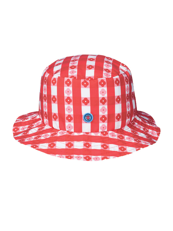 THE STONE CRAB HAT - GINGHAM WITH FLOWERS RED