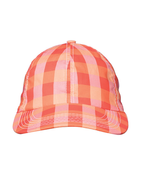 THE SOUTH POINTE HAT - GINGHAM RED ORANGE PEACH
