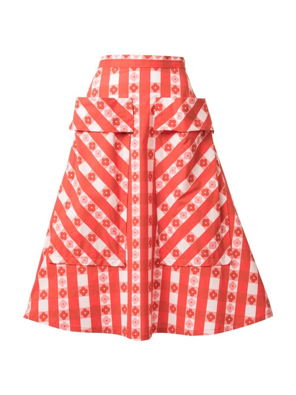 THE BARDOT SKIRT - GINGHAM WITH FLOWERS RED
