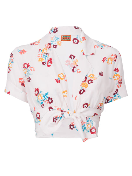 THE CARLES CROP BLOUSE - FLORAL POPPY PRINT